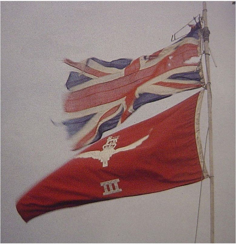 Union flag and the flag of 3 Para flying at Estancia House