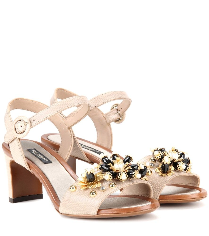 Dolce & Gabbana - Embellished embossed leather sandals - Dolce & Gabbana's embossed leather sandals are sophisticated and feminine at the same time. The luxe, reptile-effect upper comes in a demure shade of nude and is kept playful with beaded and brass embellishments for a floral motif to the open toe. Lift your LBD with this darling design. seen @ www.mytheresa.com
