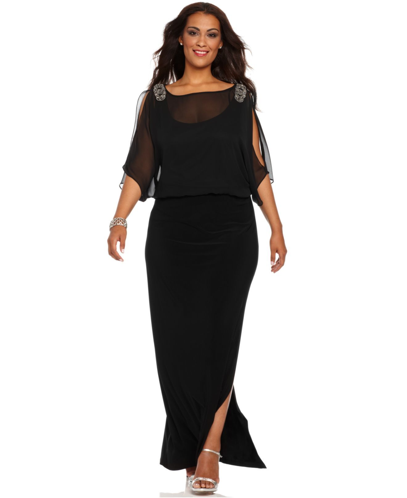 xscape plus size dress, short split sleeve beaded evening gown