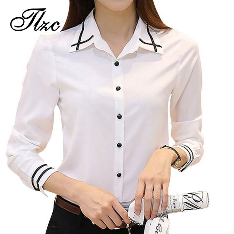 TLZC Large Size S-4XL Office Lady White Shirts Stripe Pattern Korean Style  Autumn Women