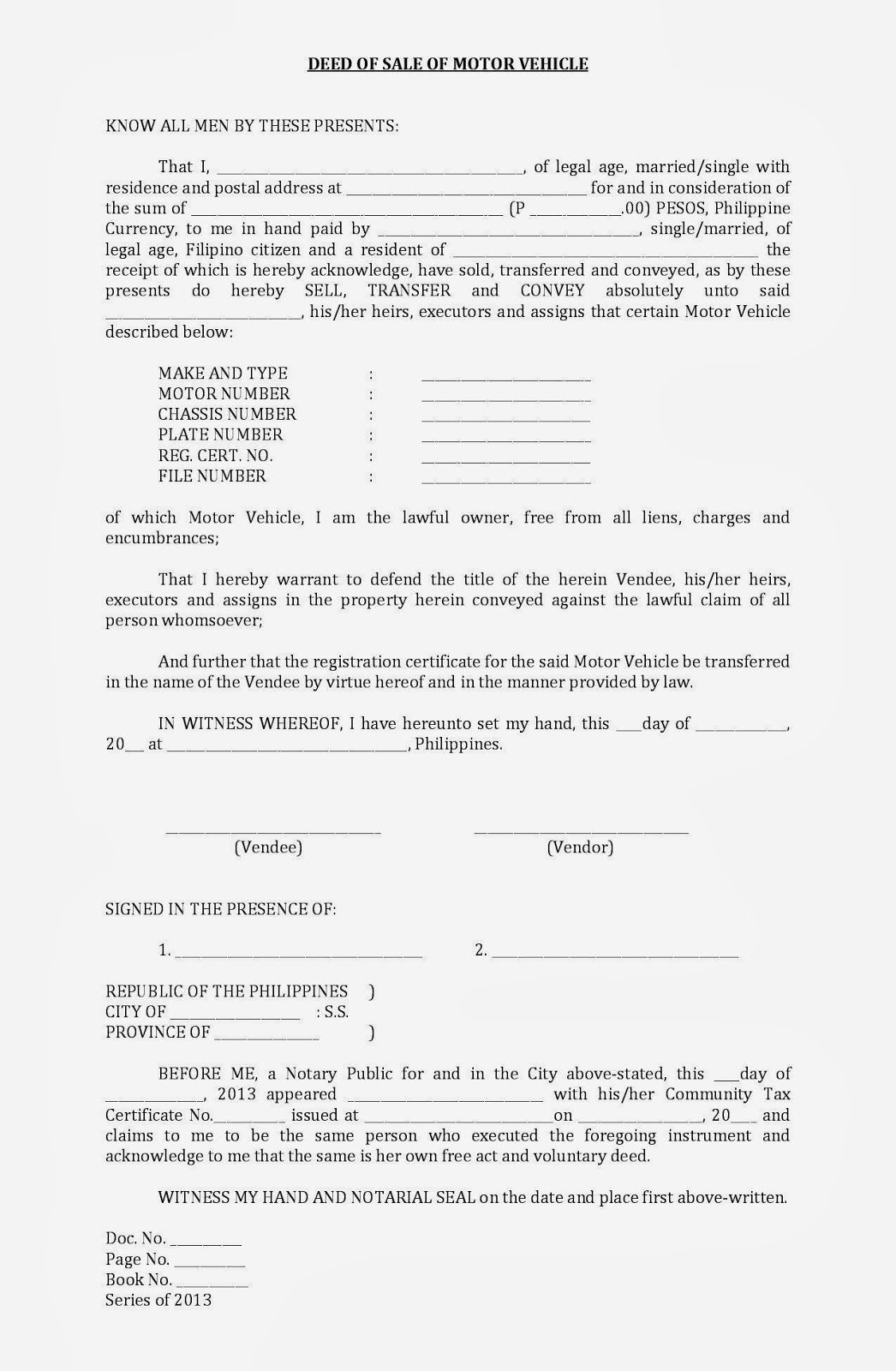 Deed of sale motor vehicle format filesishare sale for Deed of gift template australia