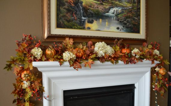 32++ Fall garland for fireplace trends