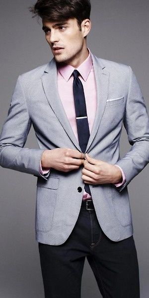 Light grey jacket. Pink shirt. Tie bar. Black slacks. | ☞ Men's ...