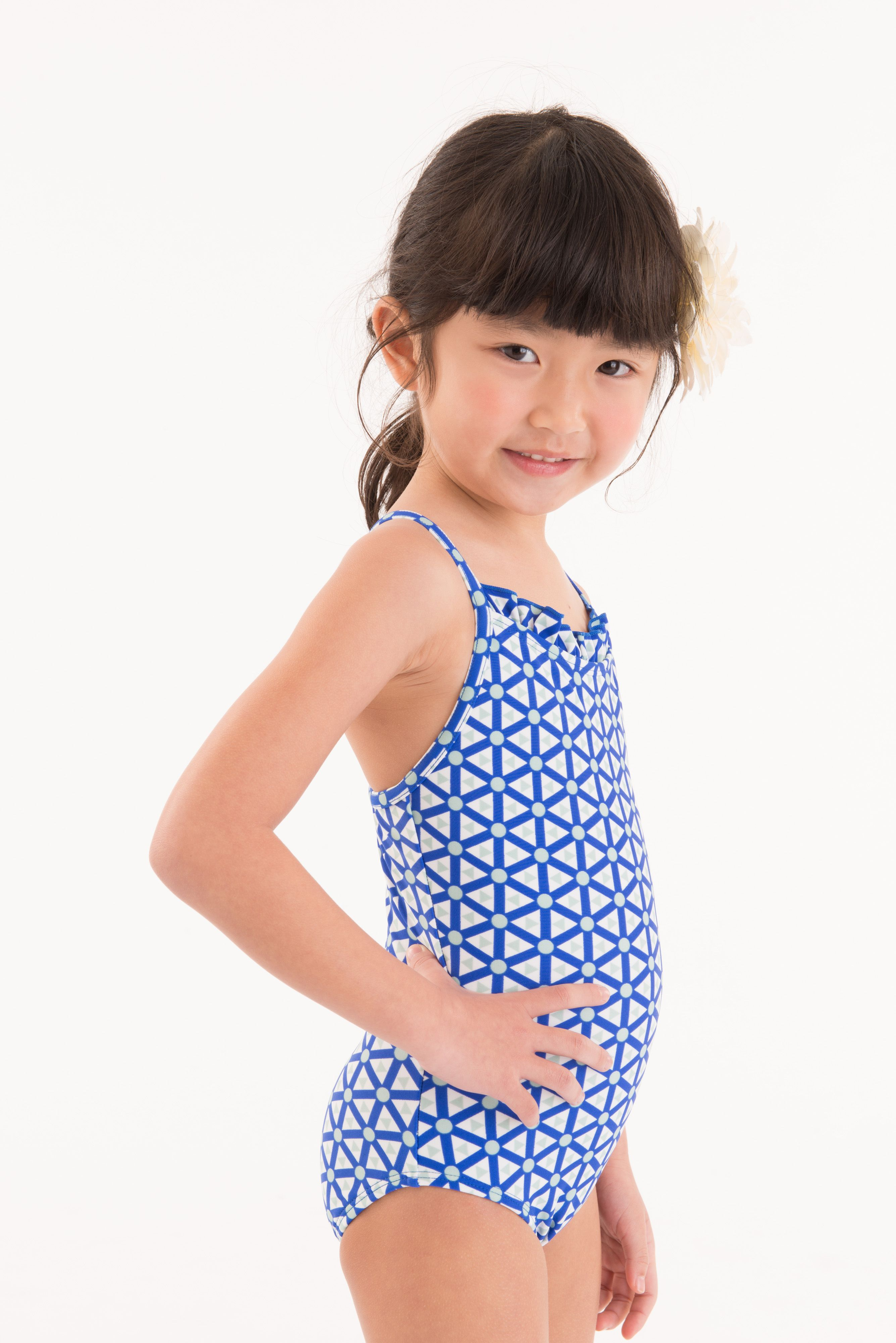 Matching Swimwear For Boys Girl And Adults Ruffle Neck One Piece In -3379