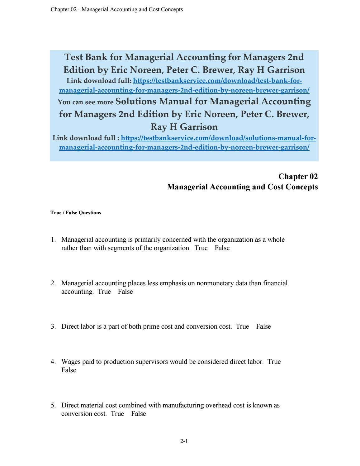 Test bank for managerial accounting for managers 2nd edition by eric ...