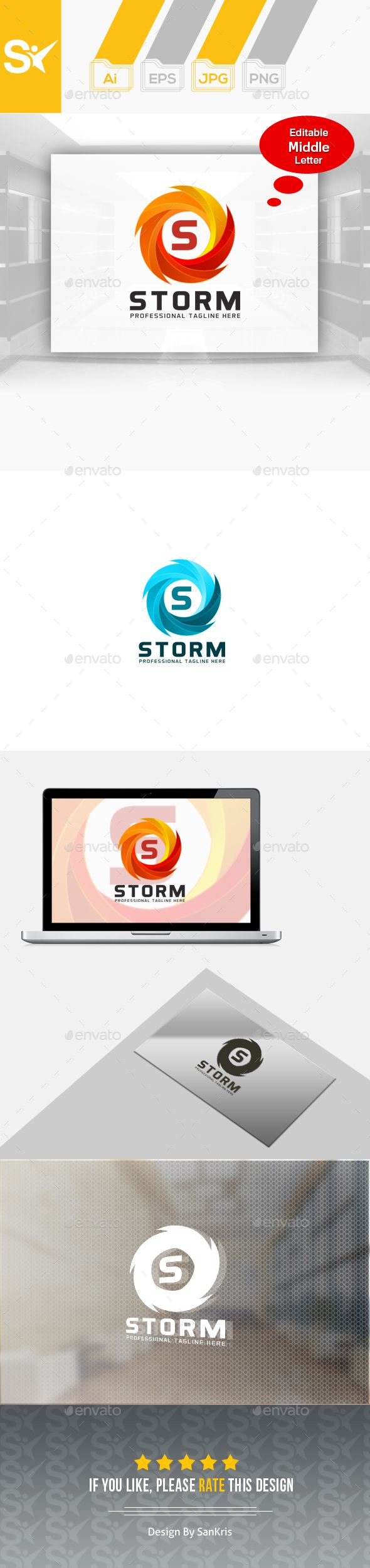 Storm - Logo Design Template Vector #logotype Download it here: http://graphicriver.net/item/storm-logo-template/14648524?s_rank=121?ref=nexion