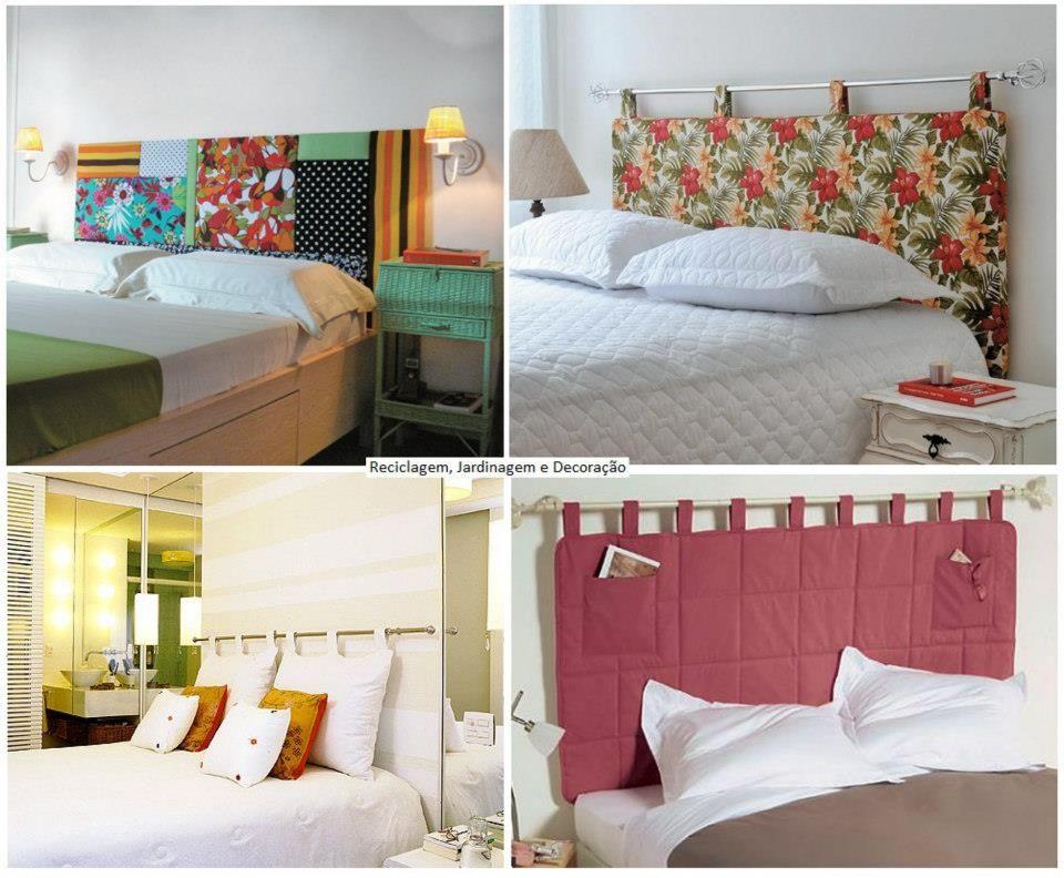cabeceira de cama com varo de cortina