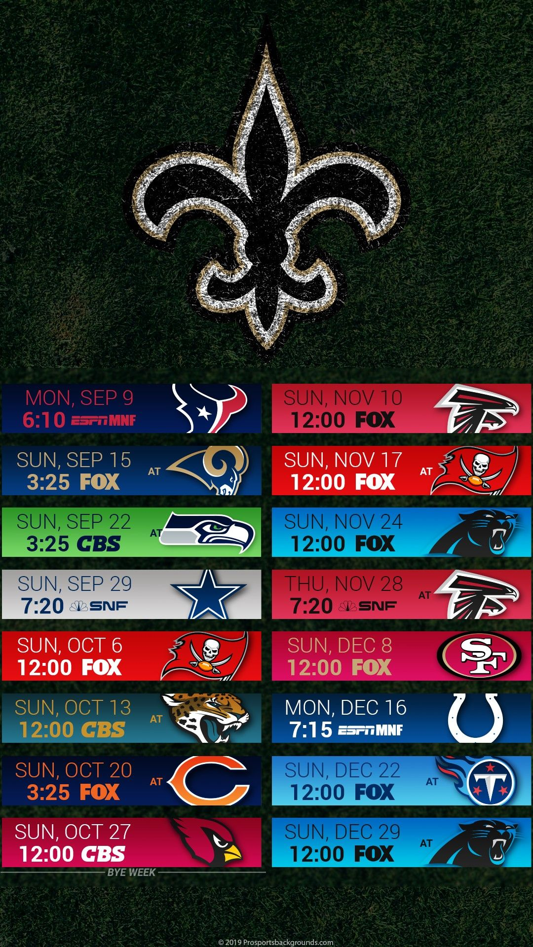 2019 New Orleans Saints Android & IPhone Wallpaper