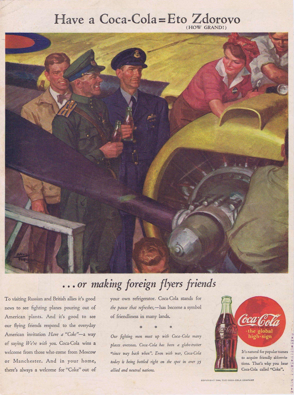 Coca-Cola 1944 WW2 Original Vintage Advertisement with
