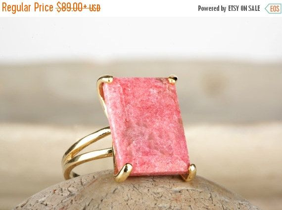 SUMMER SALE  pink rhodonite ringrectangle by AnemoneJewelry