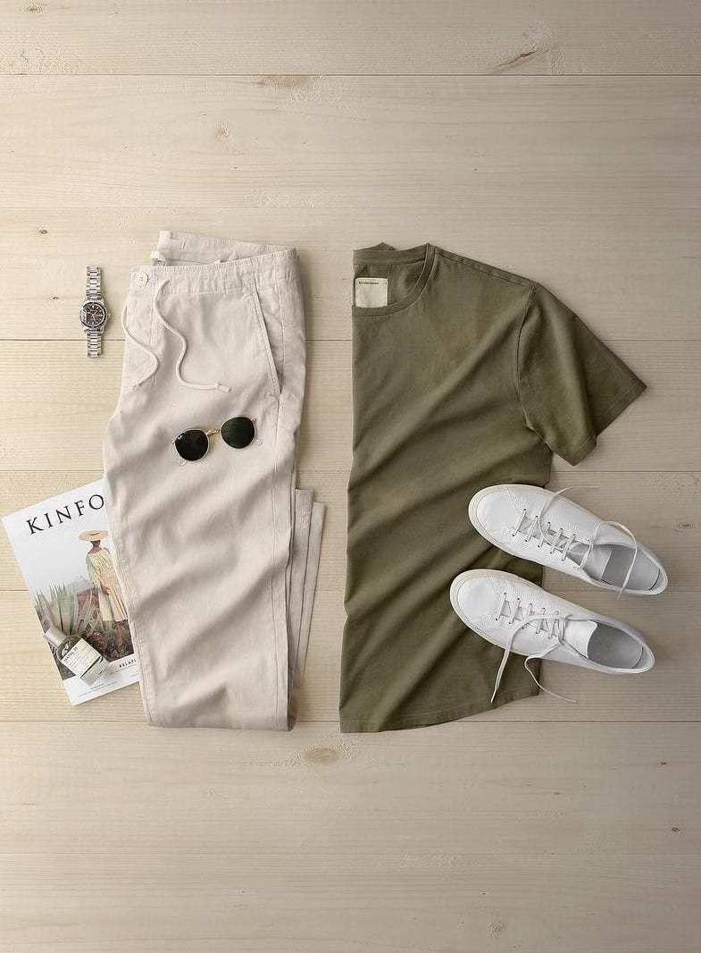 10 Stylish Summer Outfits Grid To Up Your Style Game! – erkek tişört – pantolon – ayakkabı