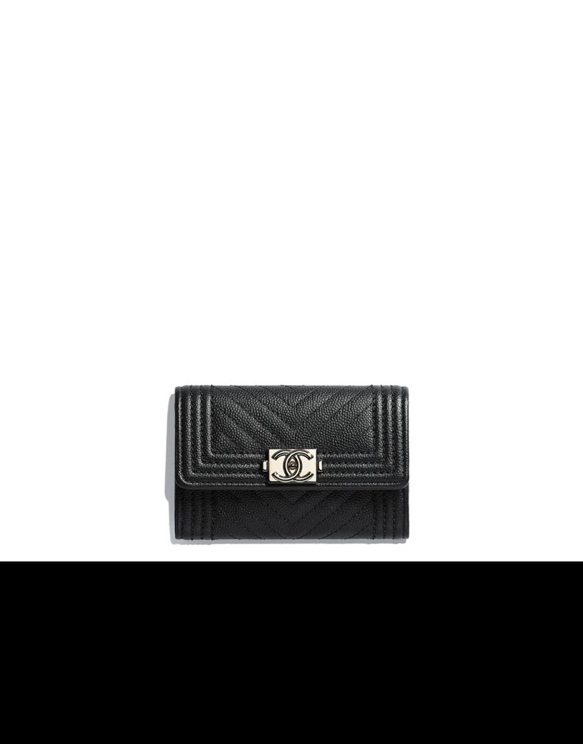 ca5748f7 BOY CHANEL small wallet, grained goatskin & ruthenium-tone metal ...