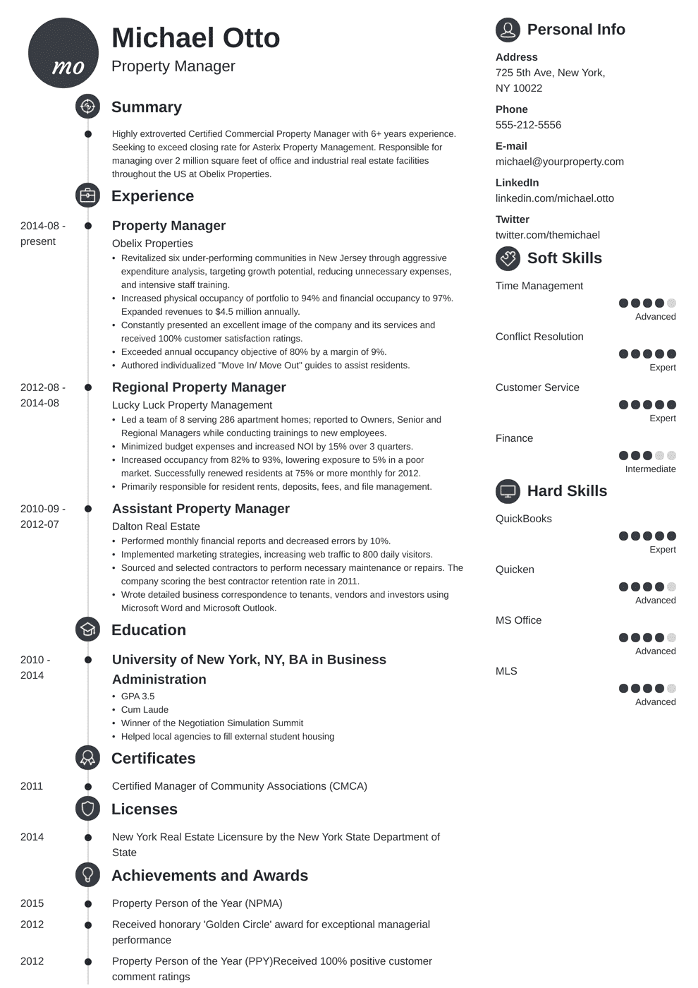 property manager resume template primo in 2020 Manager