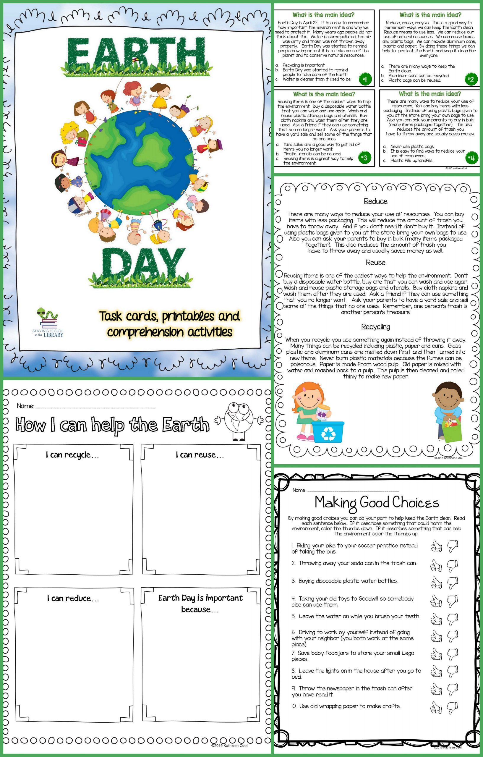 Earth Day Reading Comprehension Worksheets In