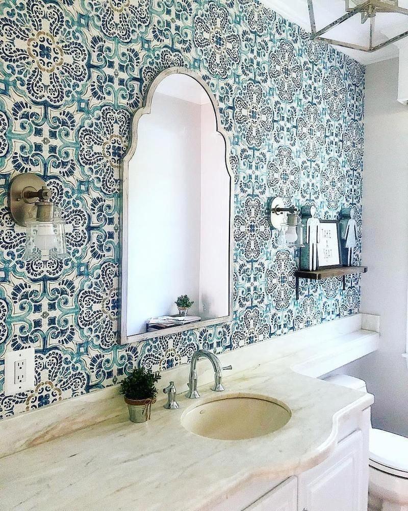 Wallpops Blue Florentine Medallion Tile Wallpaper Bathroom Wallpaper Inspiration Tile Wallpaper Temporary Wallpaper