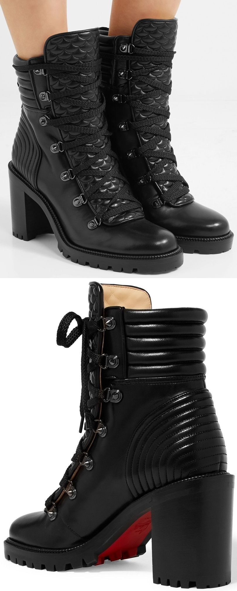 aac84e73414 Christian Louboutin s  Mad  ankle boots are modeled on hiking and moto  styles. Grounded with a chunky sole