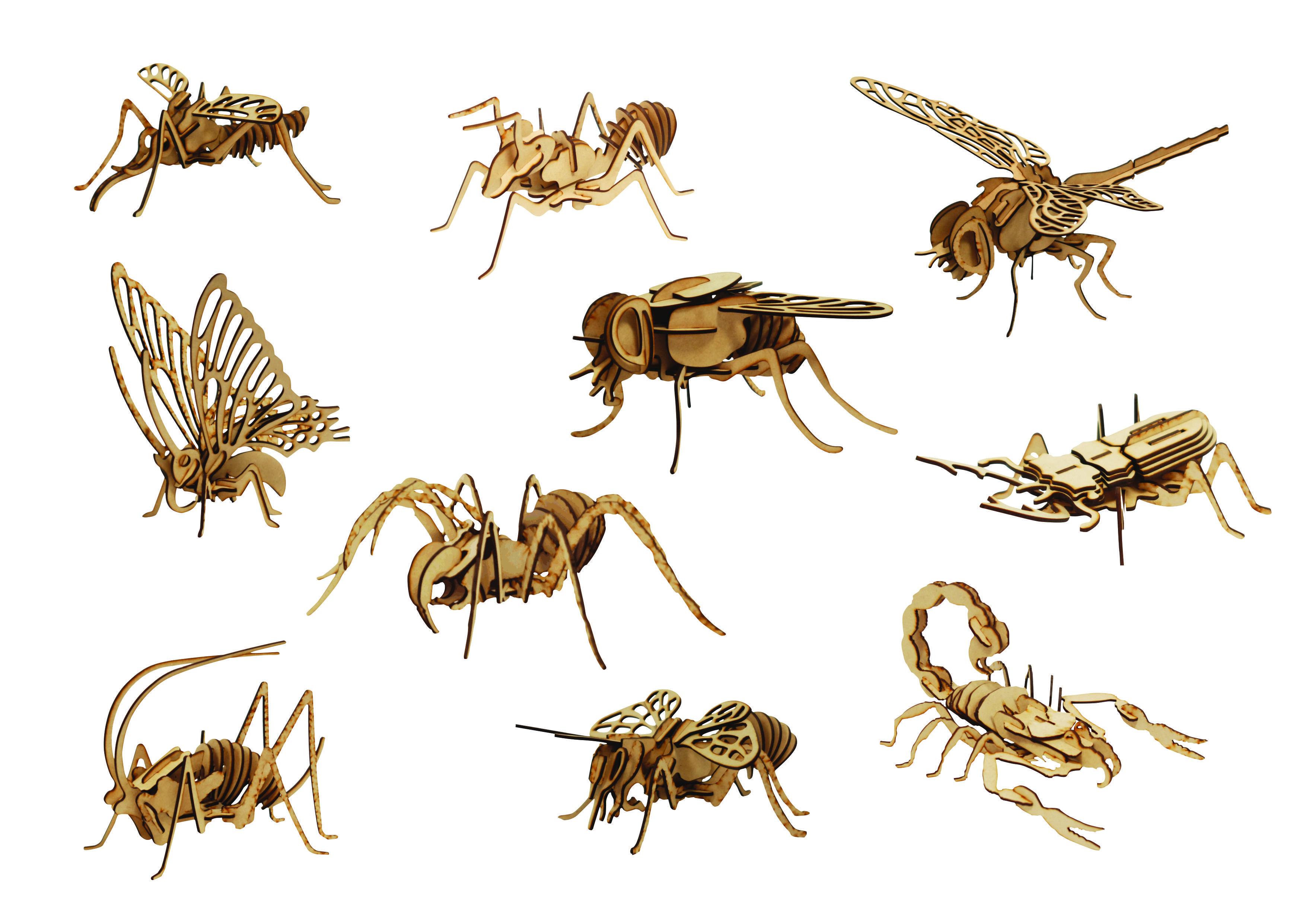 10 bugs bundle - 3d puzzle dxf files | bugs 3d puzzle | 3d