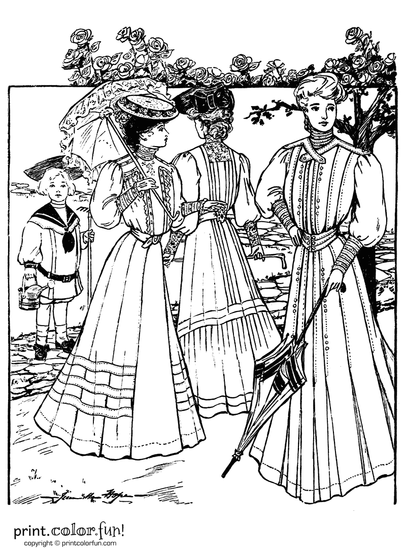 Dresses from the summer of 1905 coloring page - Print ...