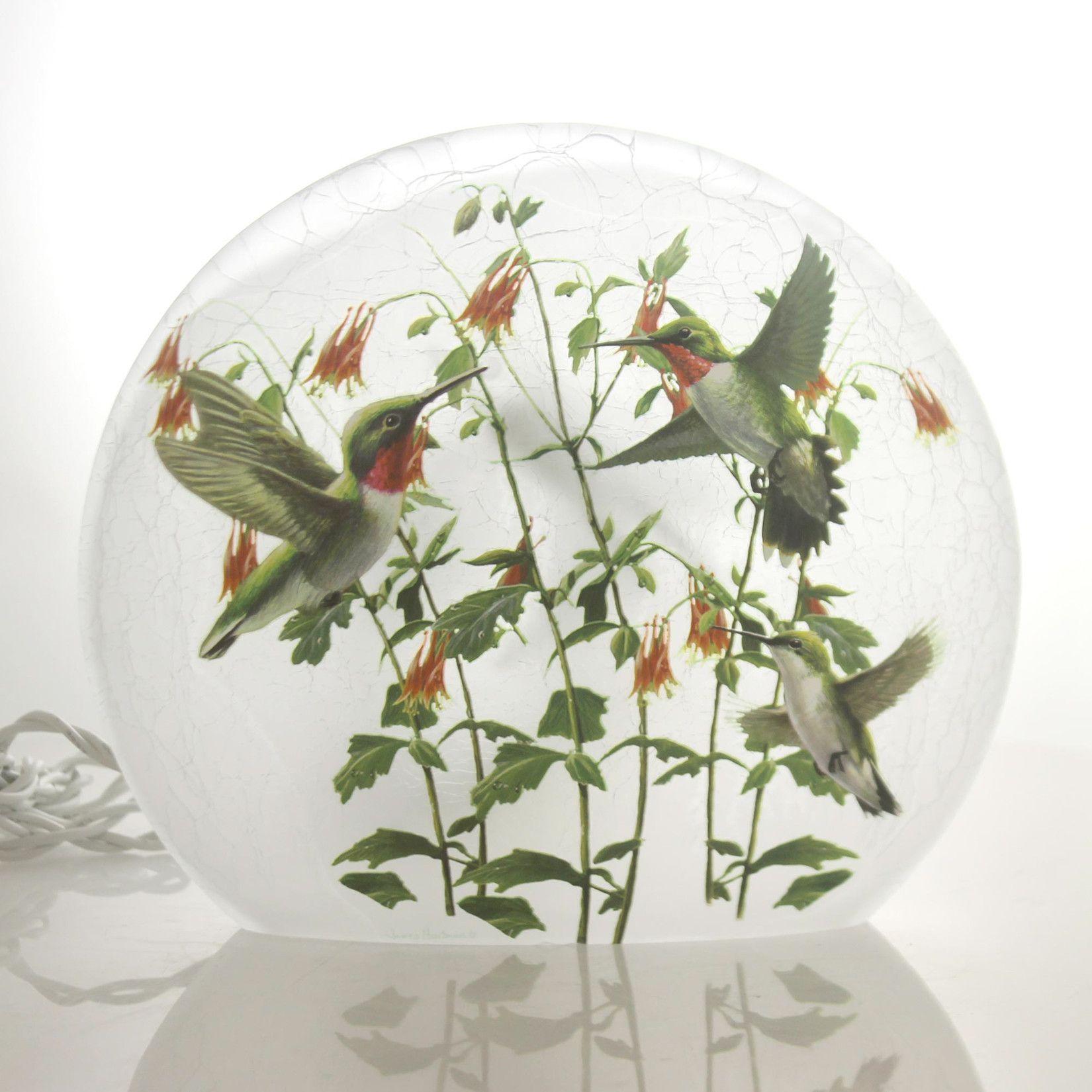 Stony Creek Lighted Round Glass/Hummingbird Home Decor