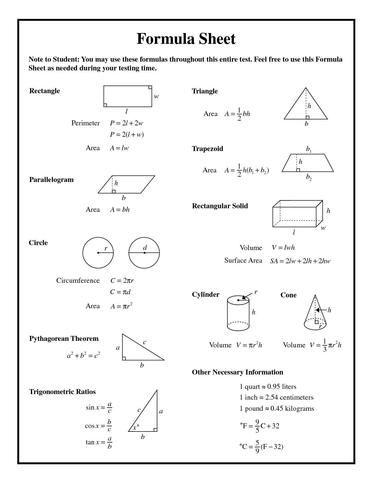 Printable Math Formula Sheet 15 Math Formula Sheet Math Formulas Geometry Formulas [ 1650 x 1275 Pixel ]