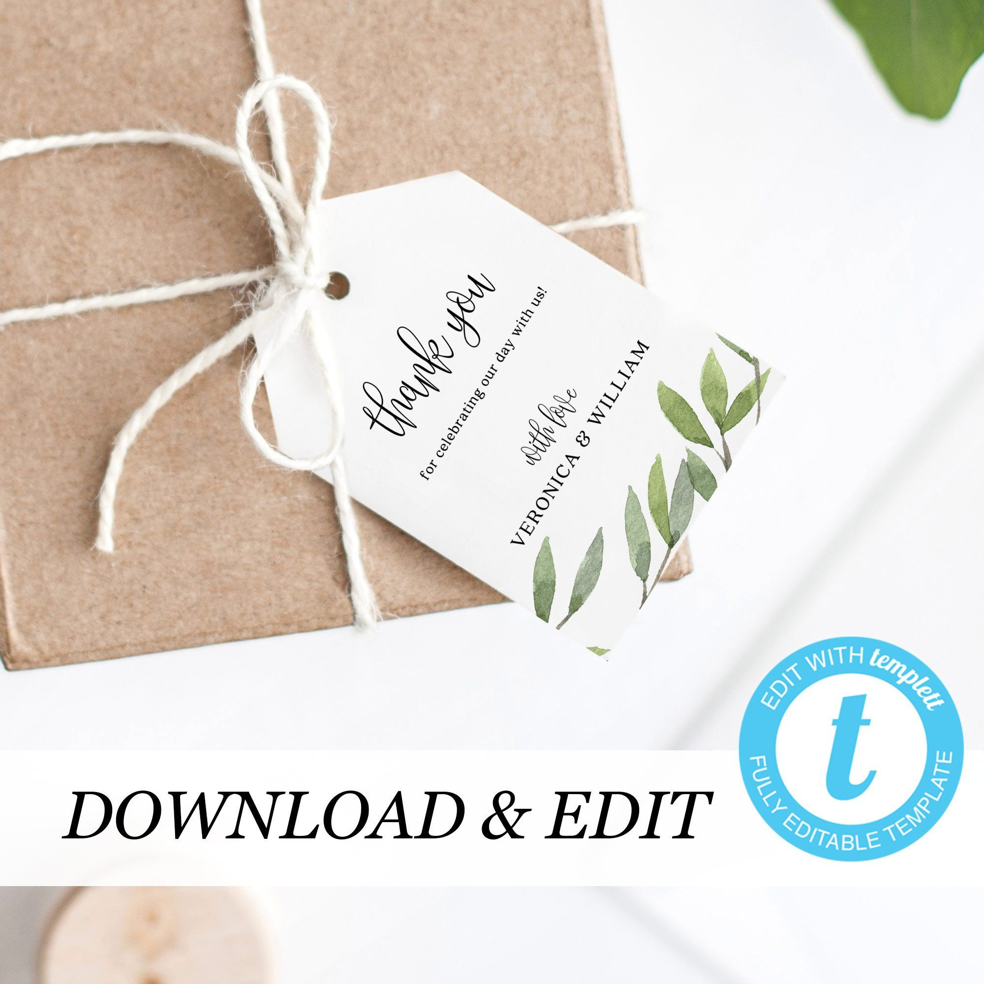 Greenery Thank You Tag Template Wedding Thank You Tags Templett