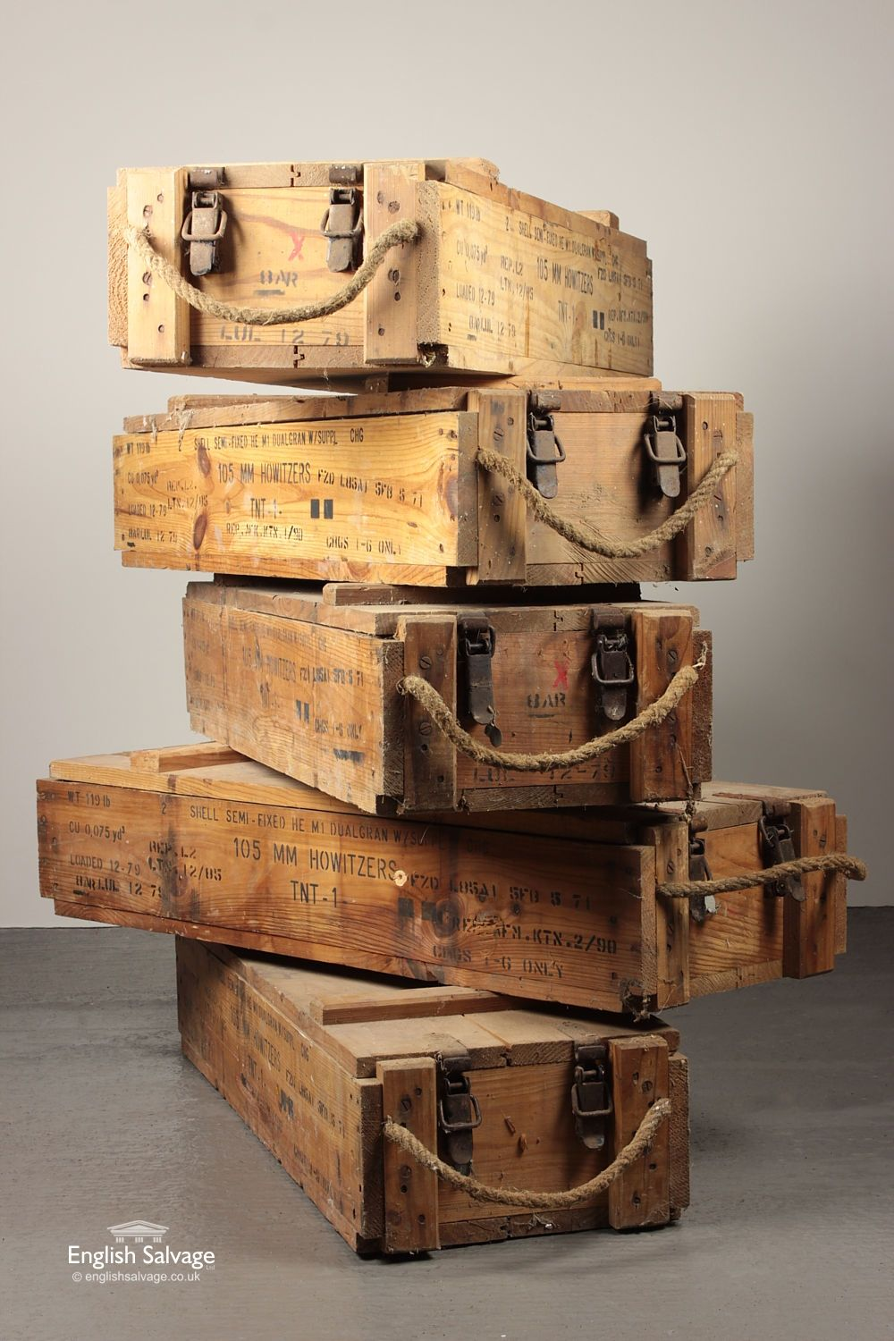 Reclaimed Howitzers 105mm Ammunition Crates Nerf Gun Storage In