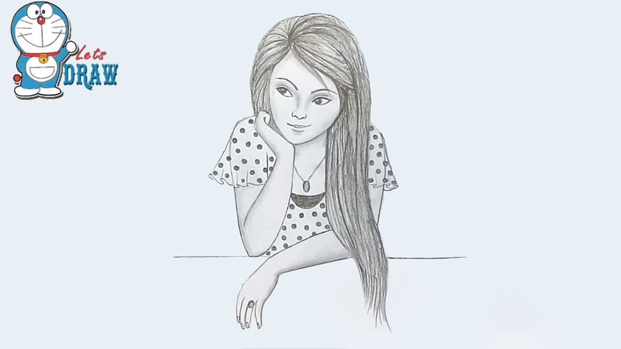 How To Draw A Girl Step By Step Very Easy Girl Drawing Images Girl Drawing Girl Sketch