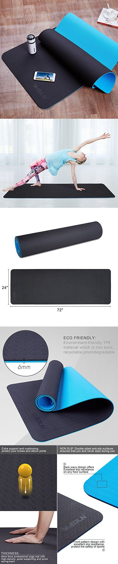 Vanerdun Non Slip Tpe Yoga Mat Eco Friendly Anti Tear Pilates Mat Extra Large 72 X 24 Thick 1 4 Inch 6mm Fit Yoga Pilates Fitness Exercise Pilates Workout Mat Pilates Yoga Pilates