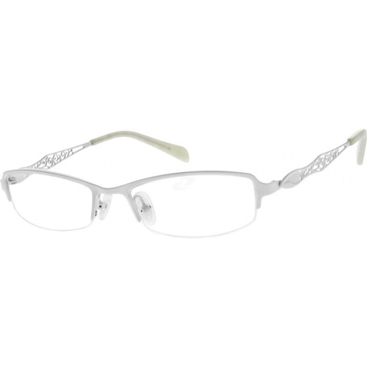 996bc6c3c35 Women s hypoallergenic stainless steel half-rim frame with adjustable  silicone nose pads and acetate temple tips for comfort. The temple arms  feature a ...