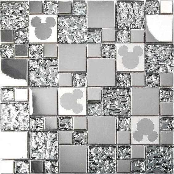 tst stainless steel mickey mouse tiles mirrored glass water drops metal tile backsplash decor tstmgb027 - Metal Tile Garden Decor