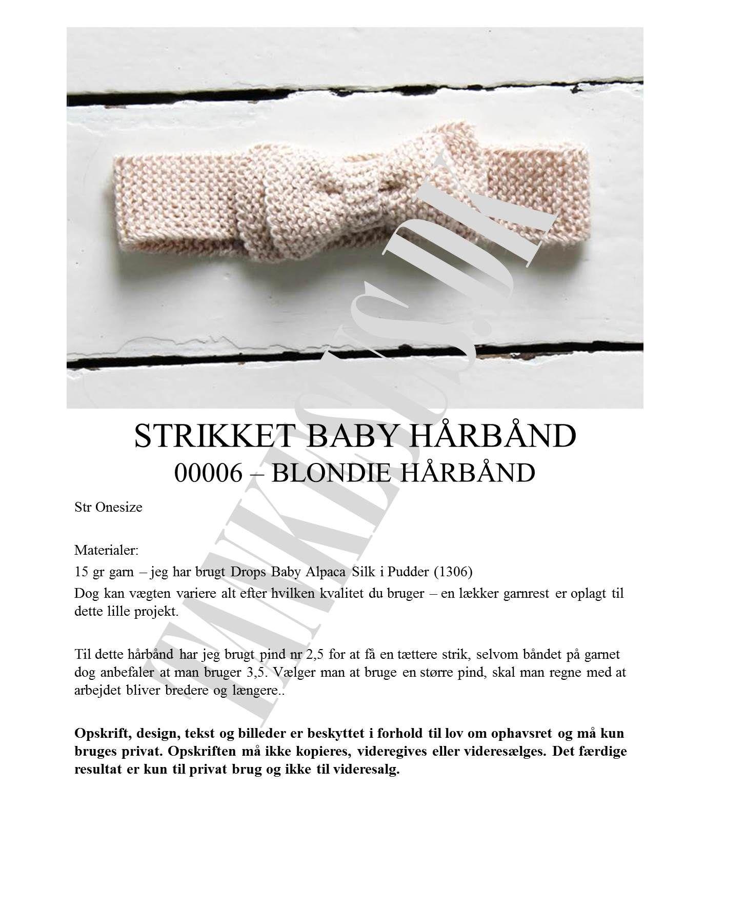 strikket hårbånd til baby