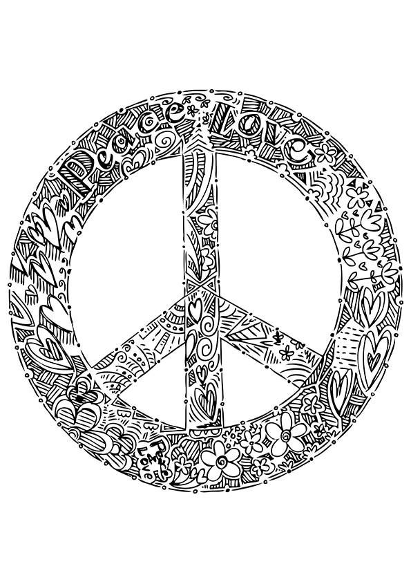 Simple And Attractive Free Printable Peace Sign Coloring Pages Coloring Pages Mandala Coloring Pages Pattern Coloring Pages
