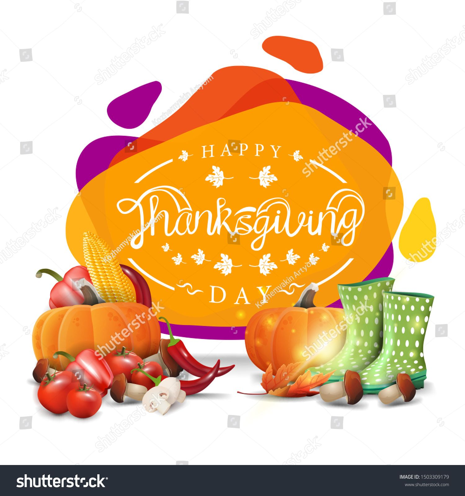 Happy Thanksgiving creative greeting banner with modern liquid design Postcard with rubber boots and autumn harvest