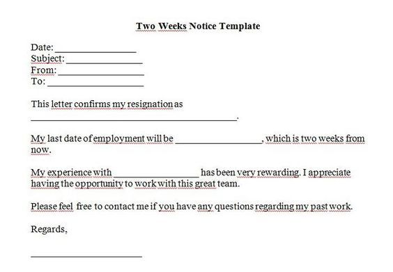 Two Weeks Notice Letters  Resignation Letter Templates  Cool