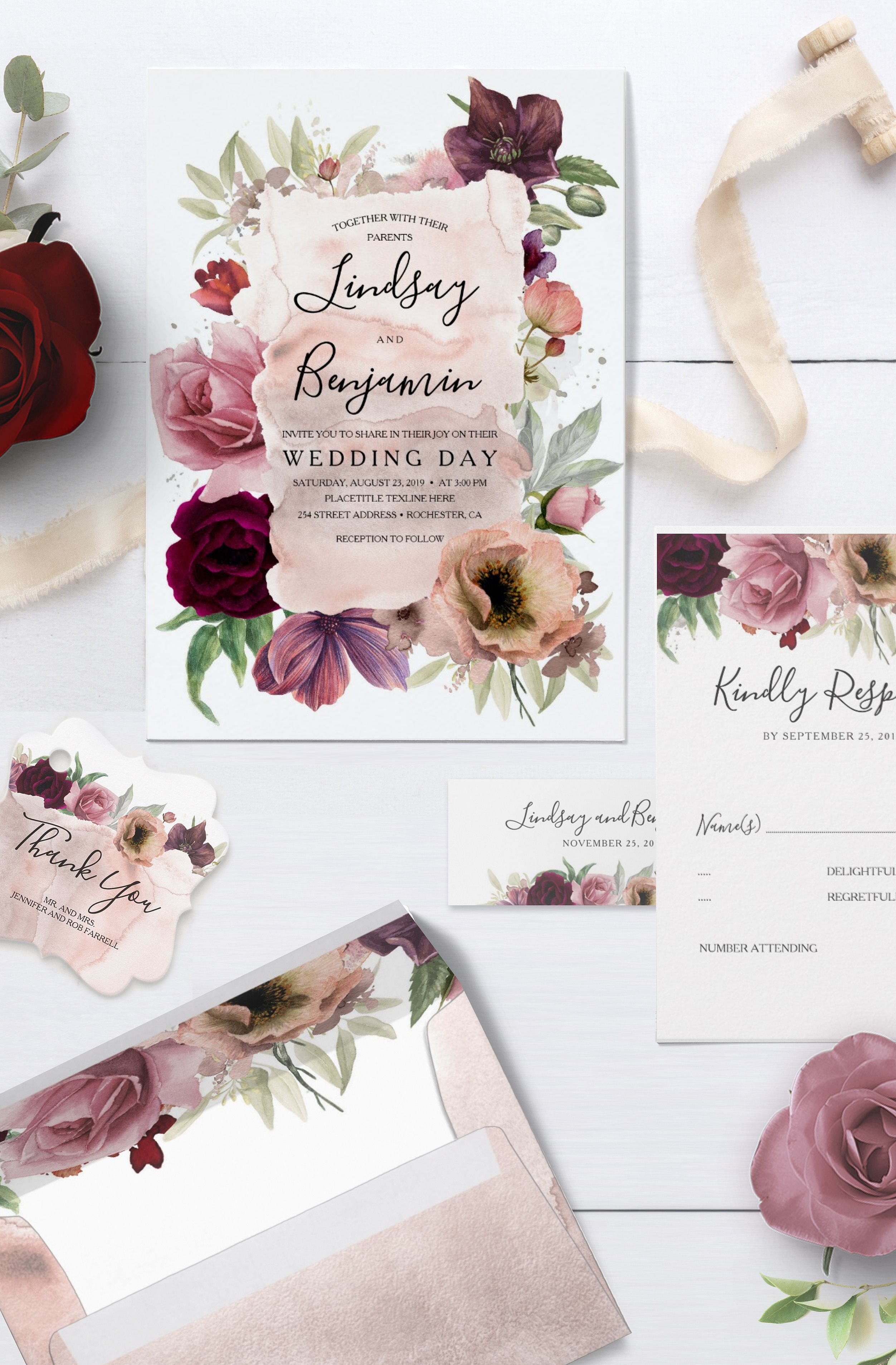 Wedding Bouquet Burgundy Bouquet Burgundy Dusty Pink Bouquet Etsy Burgundy Bouquet Wedding Flowers Summer Spring Wedding Flowers