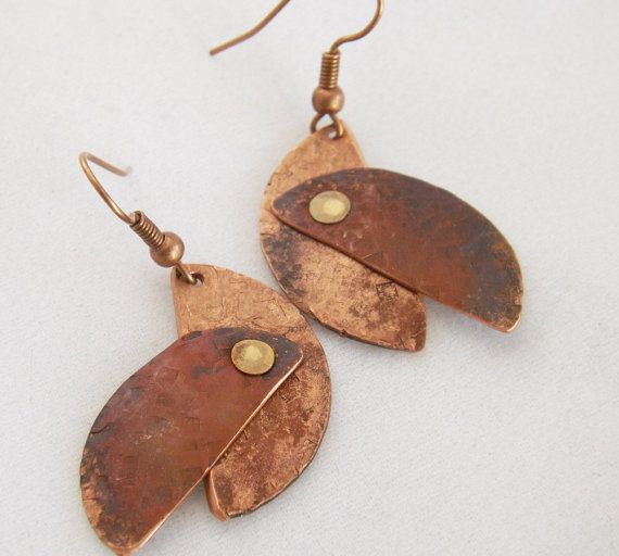 Hammered Copper Half Moons Heat Patina Riveted by TrueSelfStudio, $22.00
