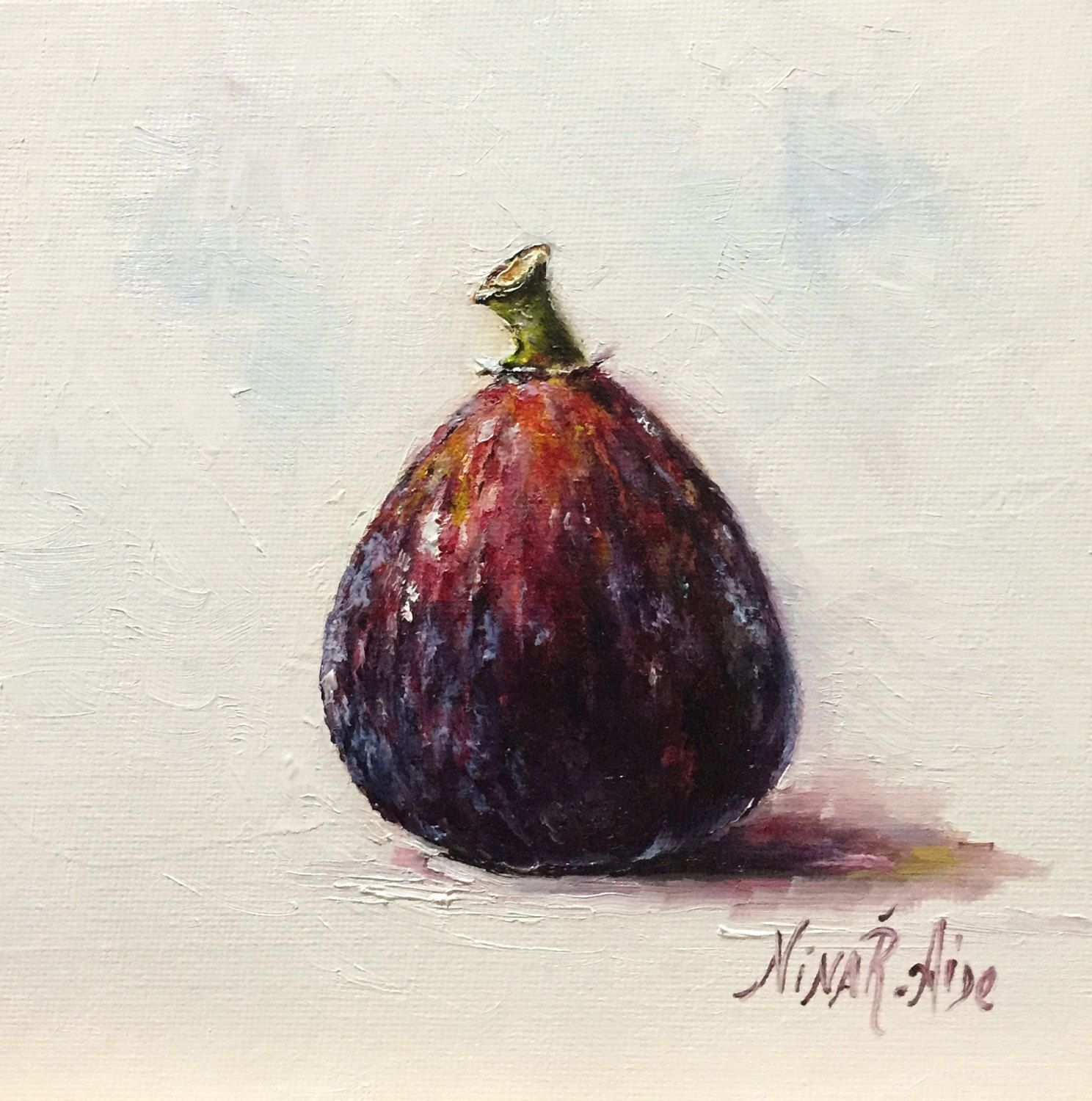 Fig Original Oil Painting Nina R.Aide Daily Painting Kitchen Art Fruit  Madera Still Life
