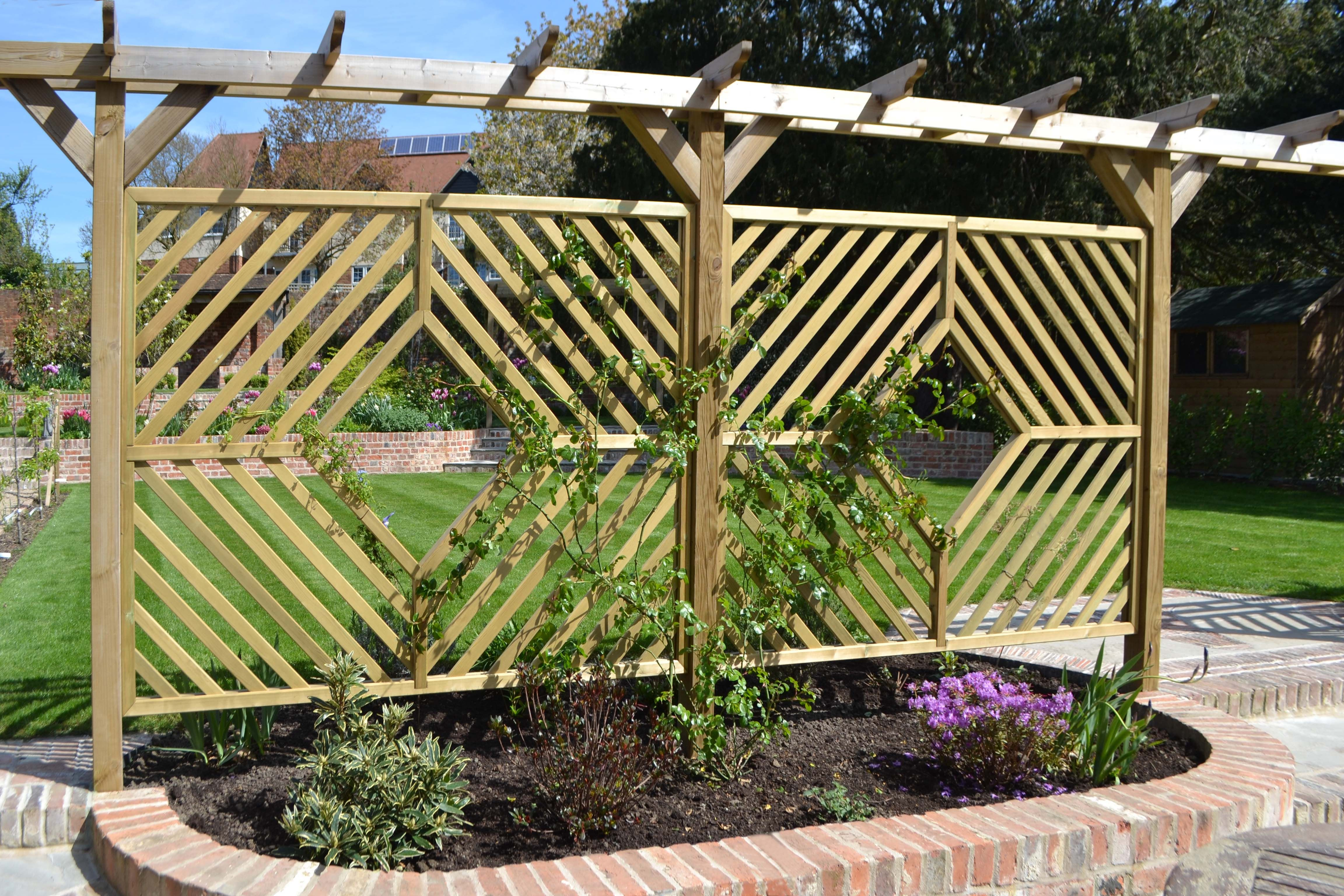 Jacksons single pergola arch custom diamond panels screens fence panel baanklon Choice Image