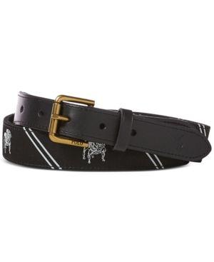Polo Ralph Lauren Men's Striped Bulldog Webbed Belt Black