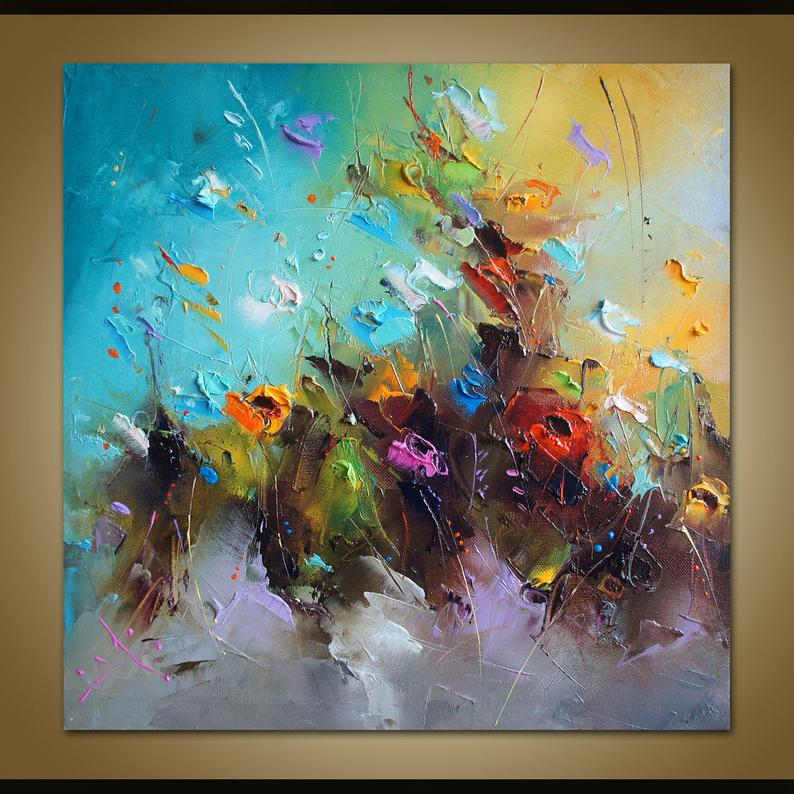 Abstract Colorful Flowers Painting Original Art Canvas Etsy Modern Art Paintings Abstract Modern Art Paintings Abstract Art Painting