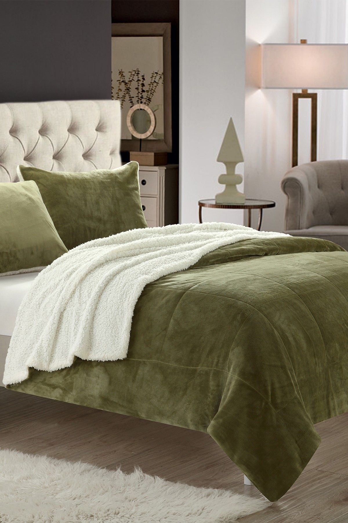 7 Piece Evelyn Faux Shearling Lined King Blanket Green