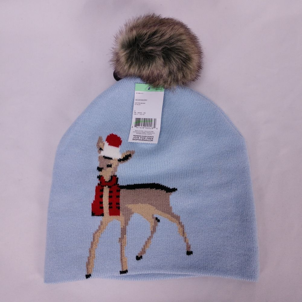Christmas Beanie Knit Hat Faux Fur Pom Pom Reindeer Winter Light Blue  Sears   Beanie 6285823555e
