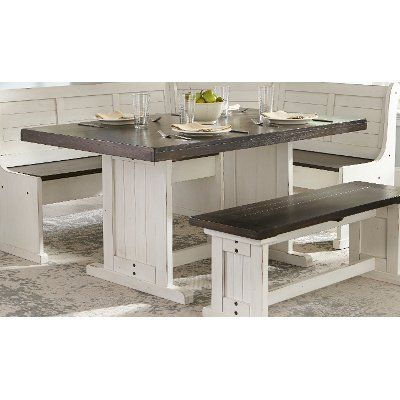 French County White Two Tone Trestle Dining Table Bourbon County With Images Trestle Dining Tables Dining Table In Kitchen Dining Table