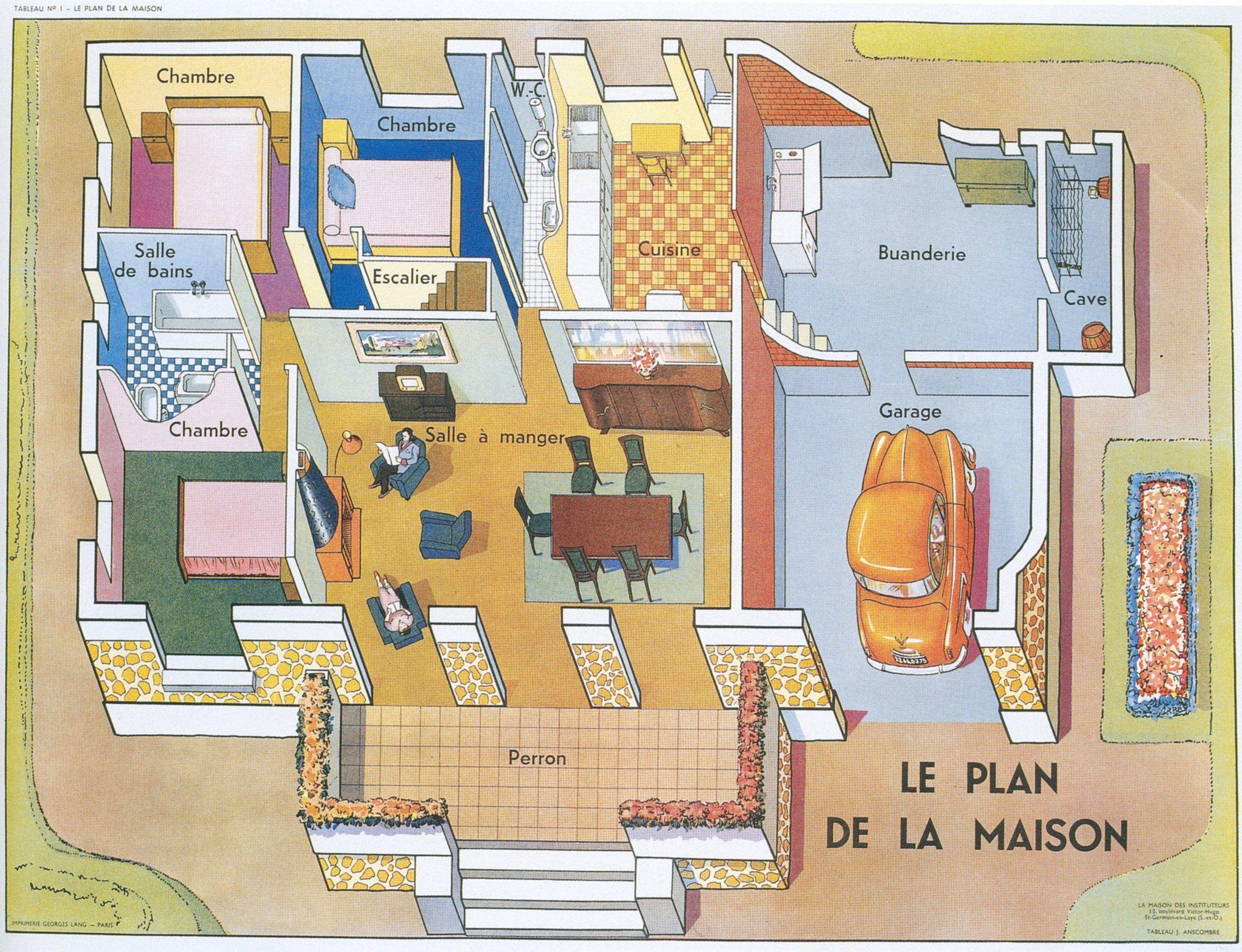 Le Plan De La Maison French House Vocab Plans Maison Et Illustration