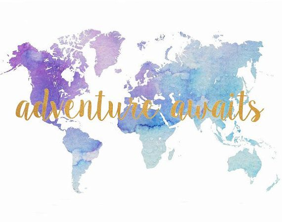 Watercolor world map adventure awaits printable art inspirational watercolor world map adventure awaits printable art inspirational print blue maptypography poster wall decor digital download printable art this is gumiabroncs Images