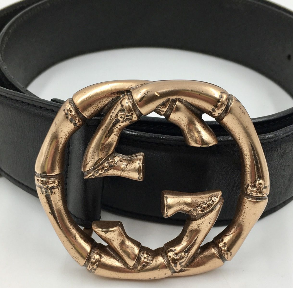 c9a674e61 Gucci black leather belt with huge Rose Gold Bamboo GG buckle Size 36,  Width: