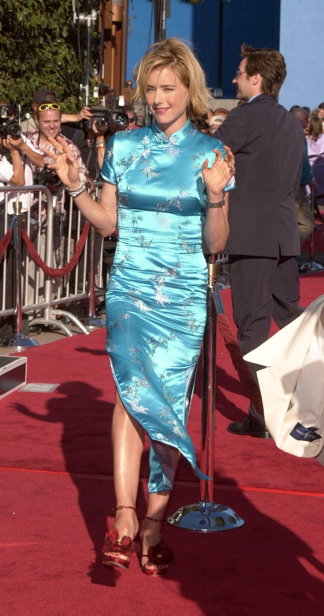 Actress Tea Leoni in Blue Cheongsam Qipao Oriental Chic http://www ...