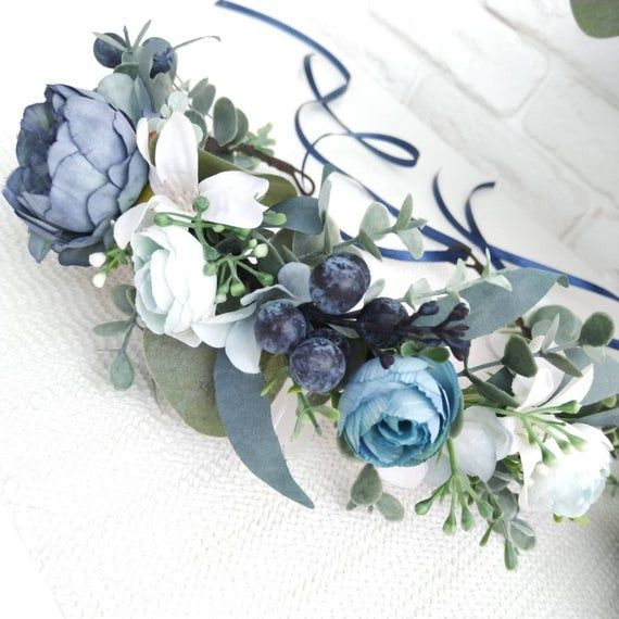 Dusty blue peony and eucalyptus crown Navy blue flower crown Bridesmaid crown Bridal flower crown Greenery hair comb Boutonniere Wedding set #bluepeonies Dusty blue peony and eucalyptus crown Navy blue flower crown image 3 #bluepeonies