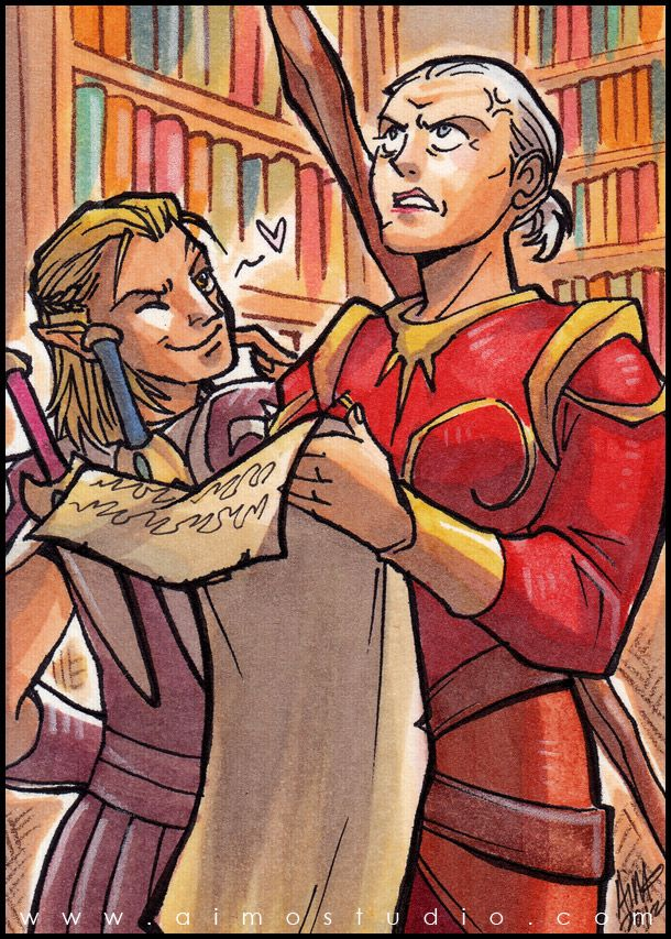 Zevran Arainai and Wynne from Dragon Age