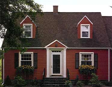 Red vinyl siding on cape cod house google search for Norman rockwell siding